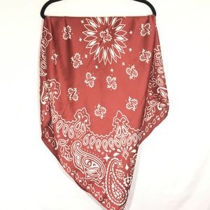 Free People Red and White paisley Scarf New